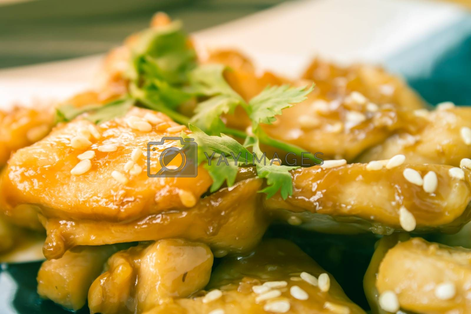 Fried Chicken with Garlic and Pepper and Coriander in Dish with Natural Light on Center Frame in Vintage Tone