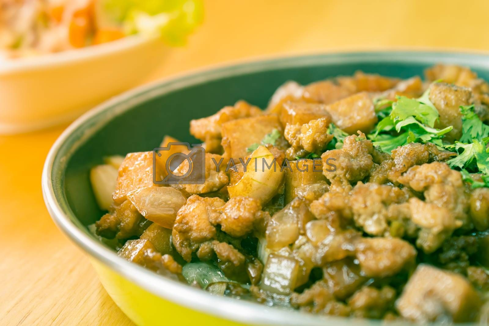 Stir Fried Pork with Onion and Garlic and Black Soy Sauce and Coriander Topping and Tofu with Natural Light on Right Frame in Vintage Tone