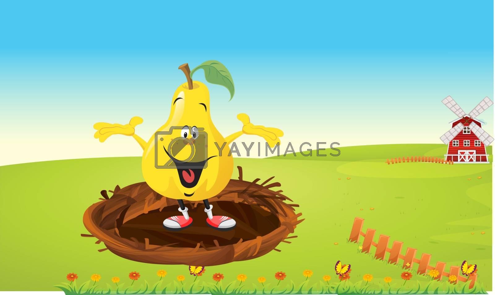 a fruit is dancing in a bird nest in the garden