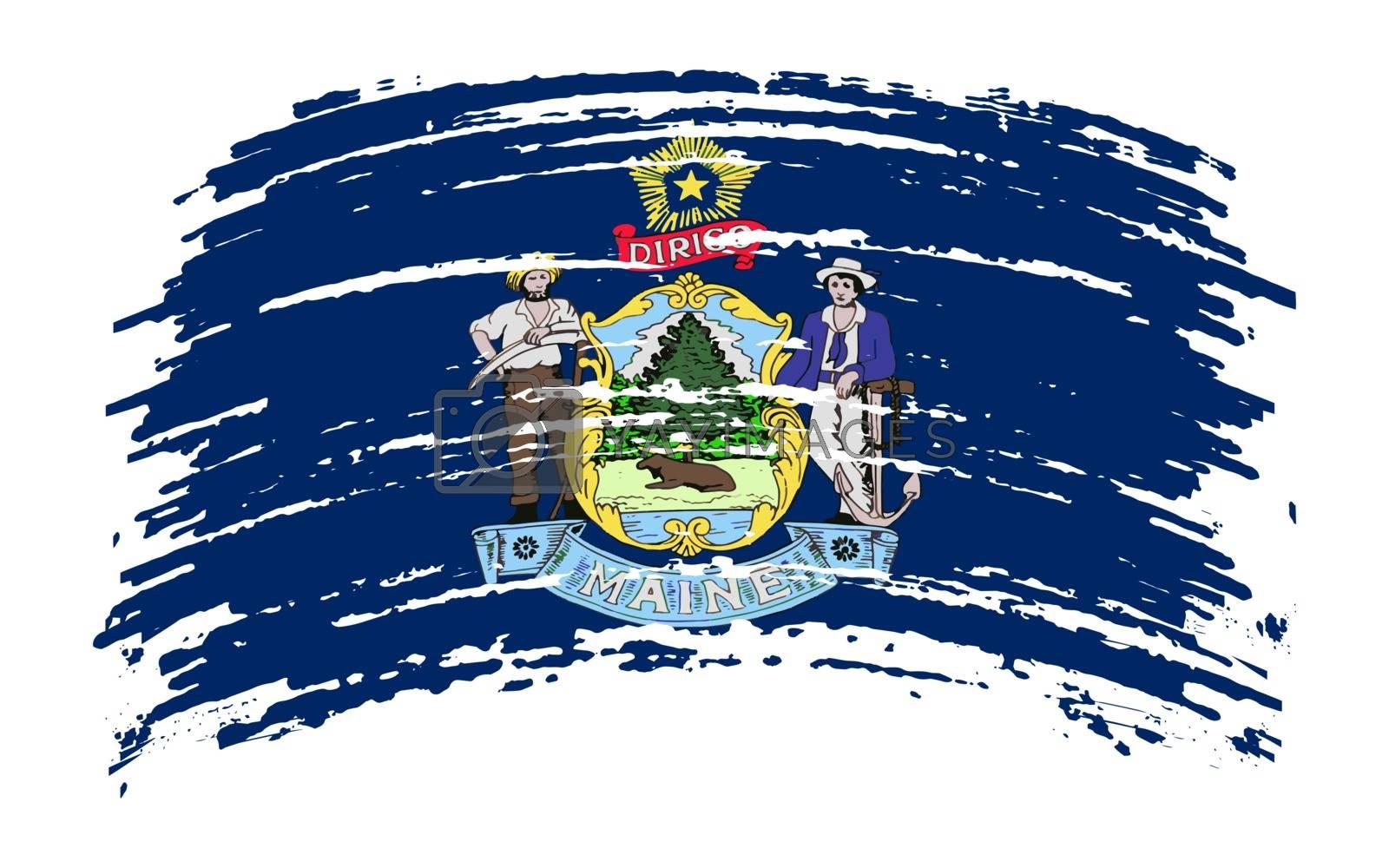 Maine US flag in grunge brush stroke, vector image