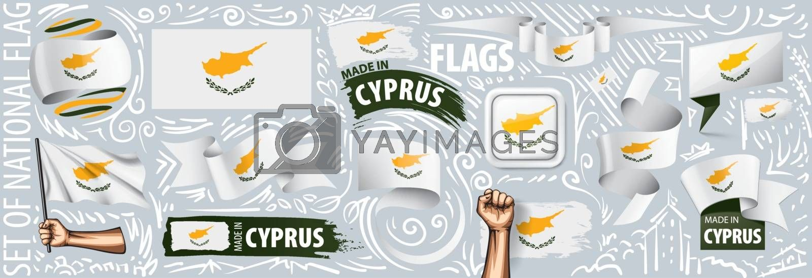Vector set of the national flag of Cyprus in various creative designs.