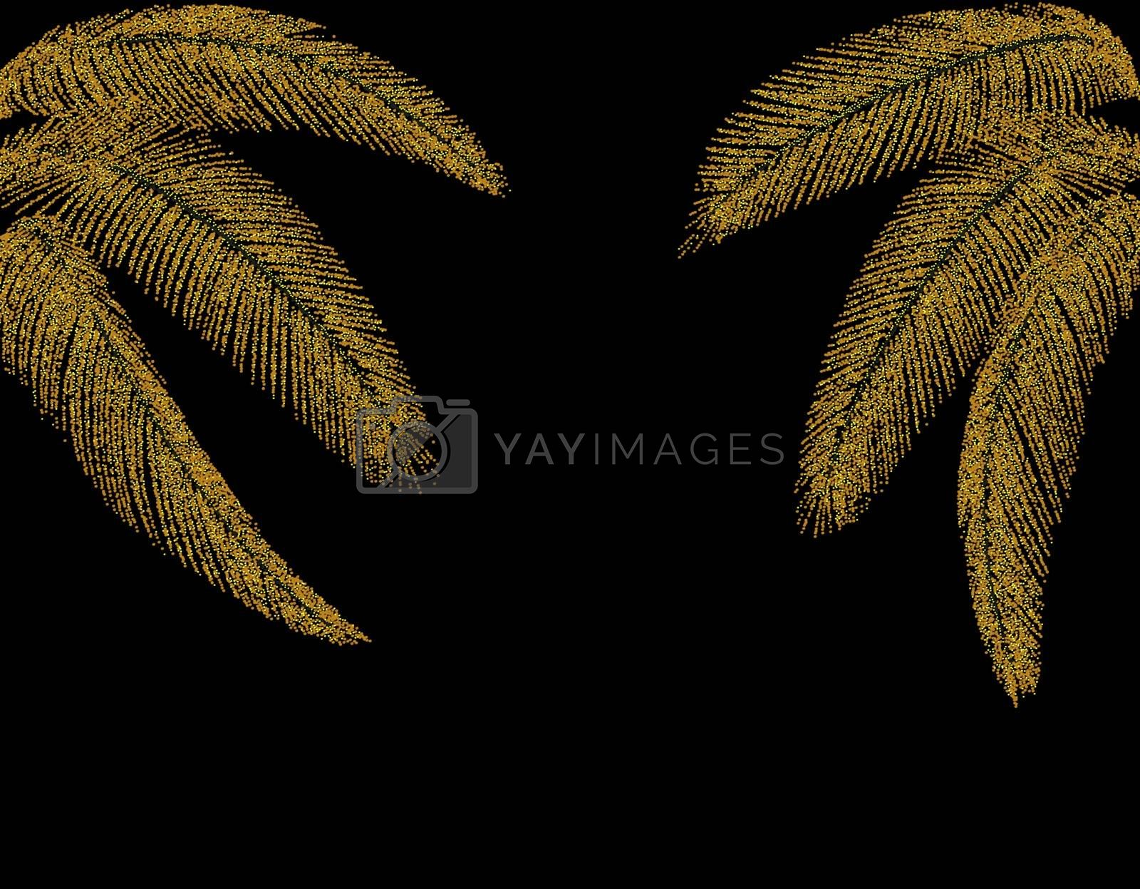 Tropical Different shaped golden palm leaves. At both sides. Stylized from circles. Vector illustration