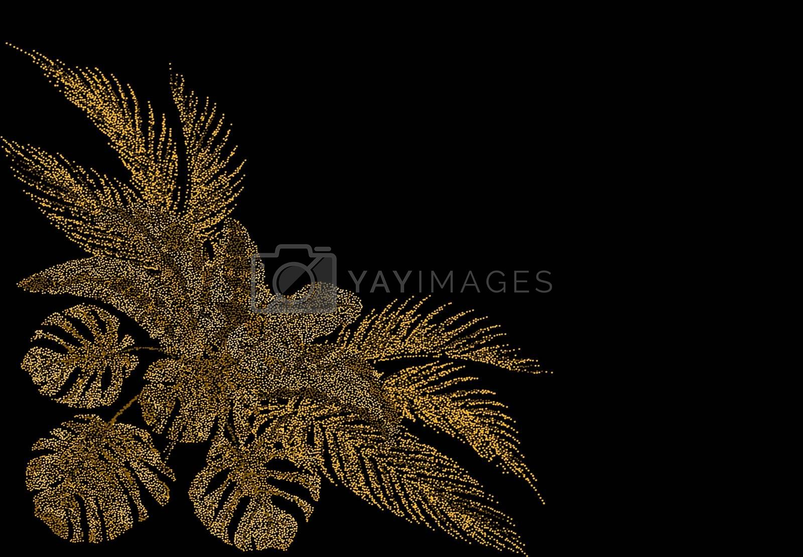 Tropical golden palm leaves. Ogawa, Monstera, Banana. Stylized from circles Vector illustration