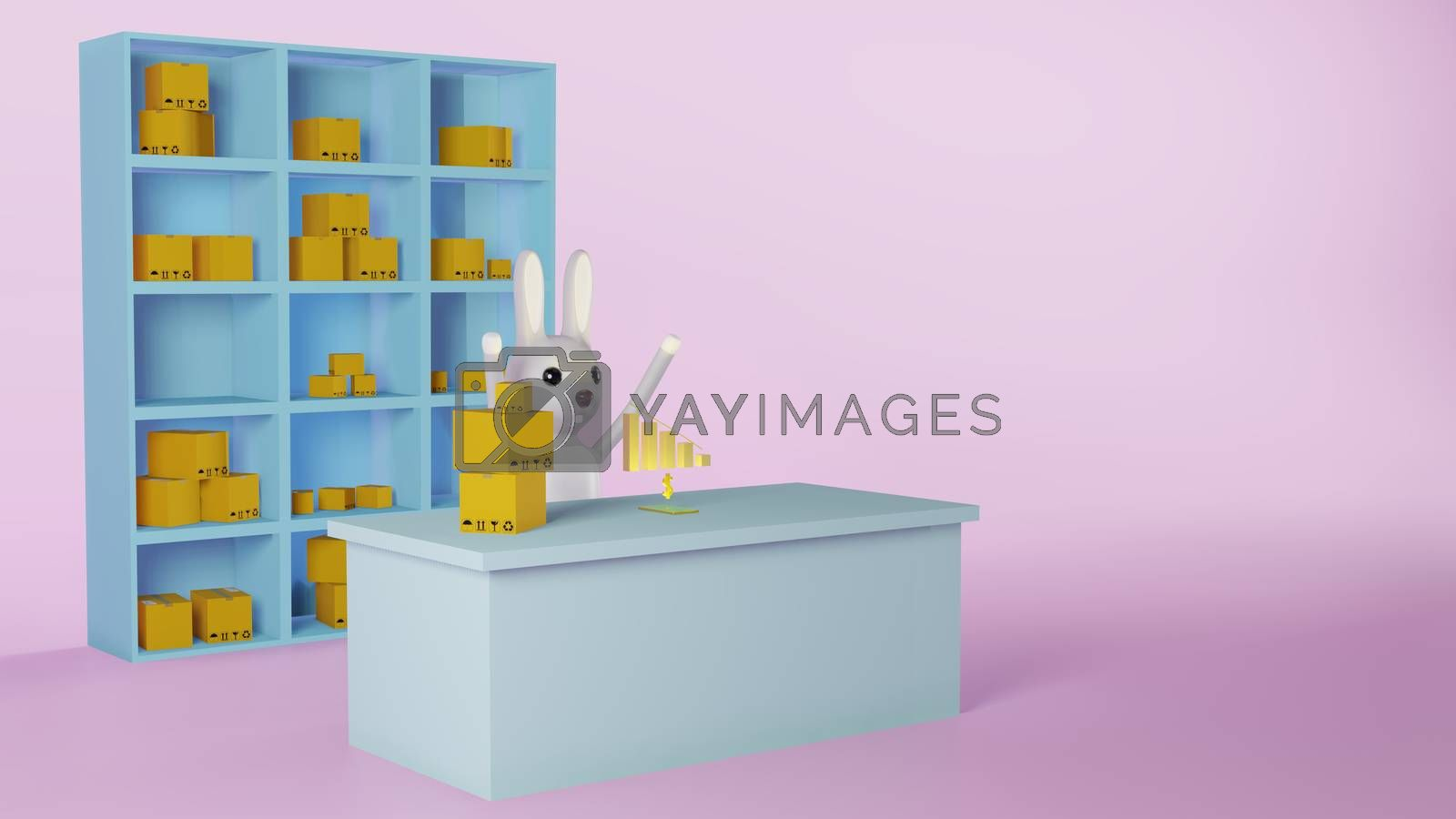 Royalty free image of Rabbit worker raise hands glad with profit of sales by eaglesky