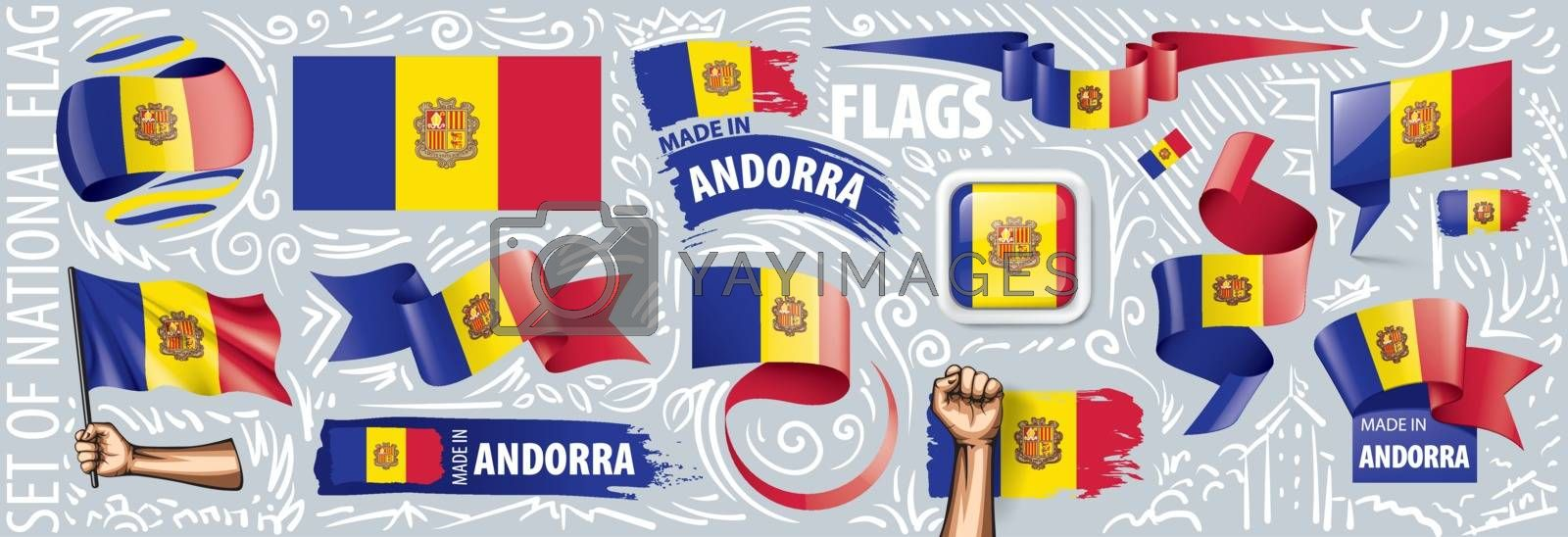 Vector set of the national flag of Andorra in various creative designs.