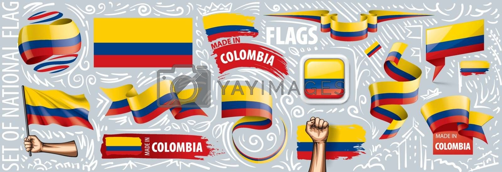 Vector set of the national flag of Colombia in various creative designs.