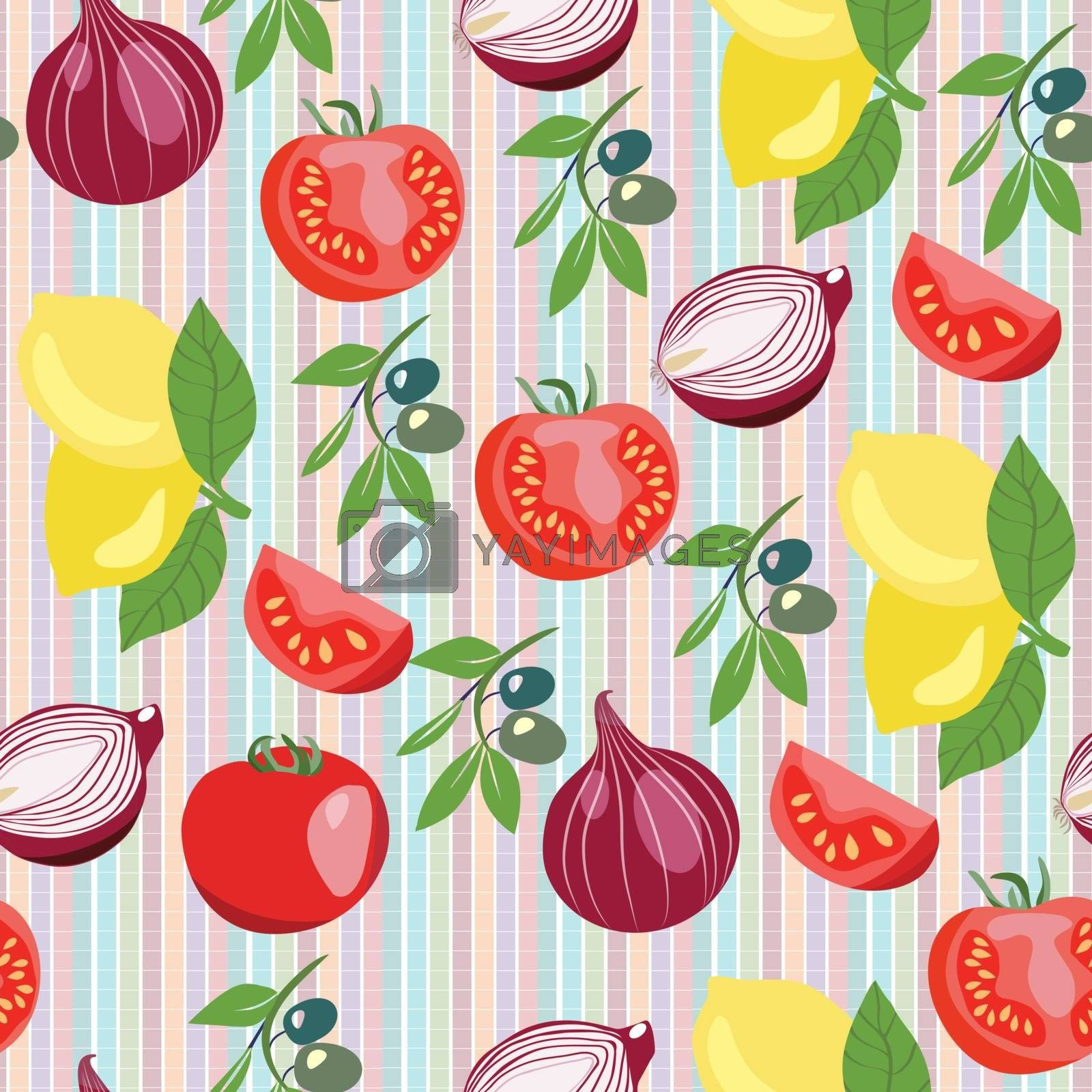 Vector seamless pattern of hand drawn vegetables collection on stripes background.