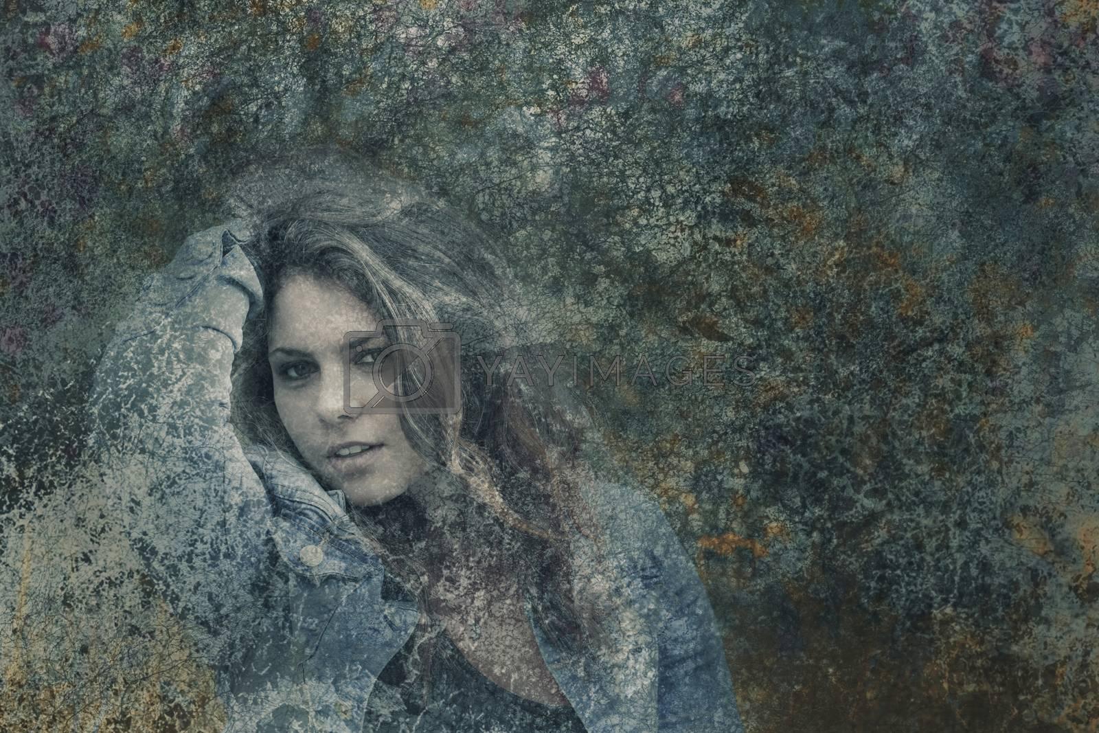Double exposure of attractive teenage girl hiding behind dark grunge texture.