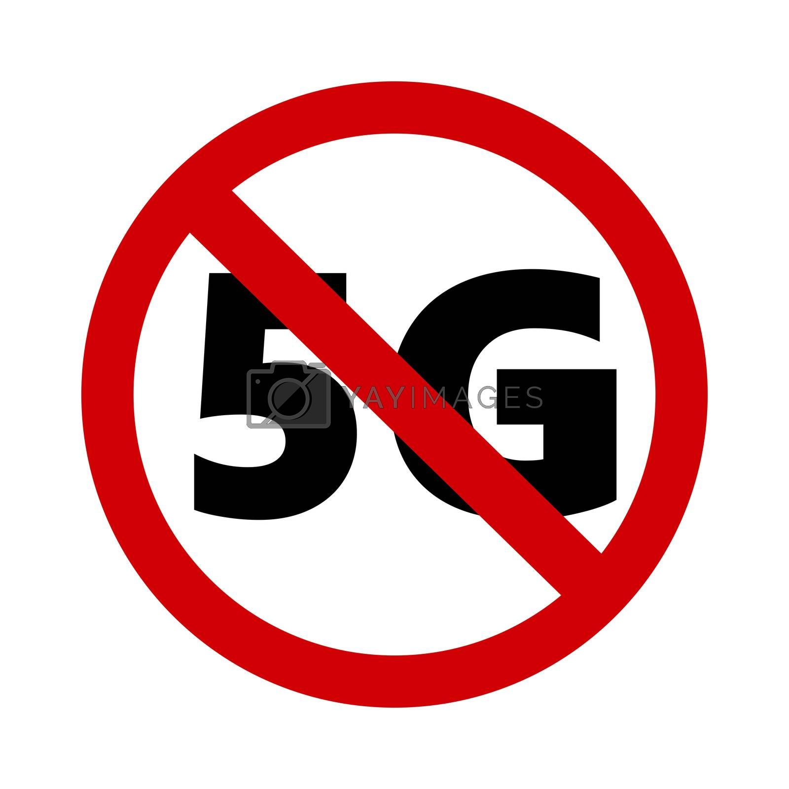 stop 5G sign symbol over white background
