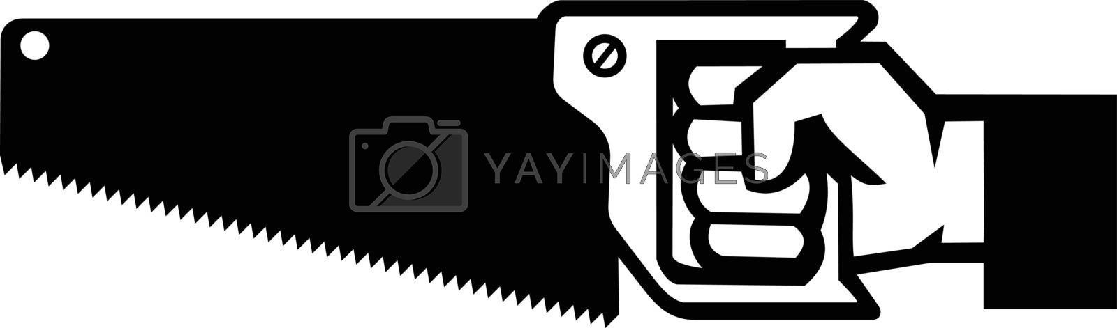 Black and White Illustration of an American carpenter, handyman or construction worker hand holding a crosscut saw viewed from side on isolated white background done in retro style.