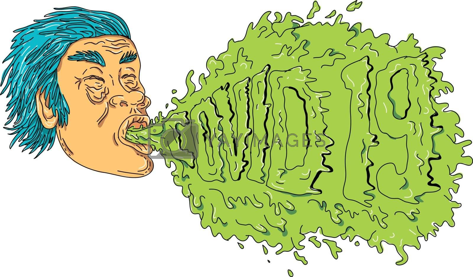 Grime art style illustration of a man with coronavirus, COVID-19 or 2019-nCoV, coughing or sneezing and spreading the virus infection on isolated white background