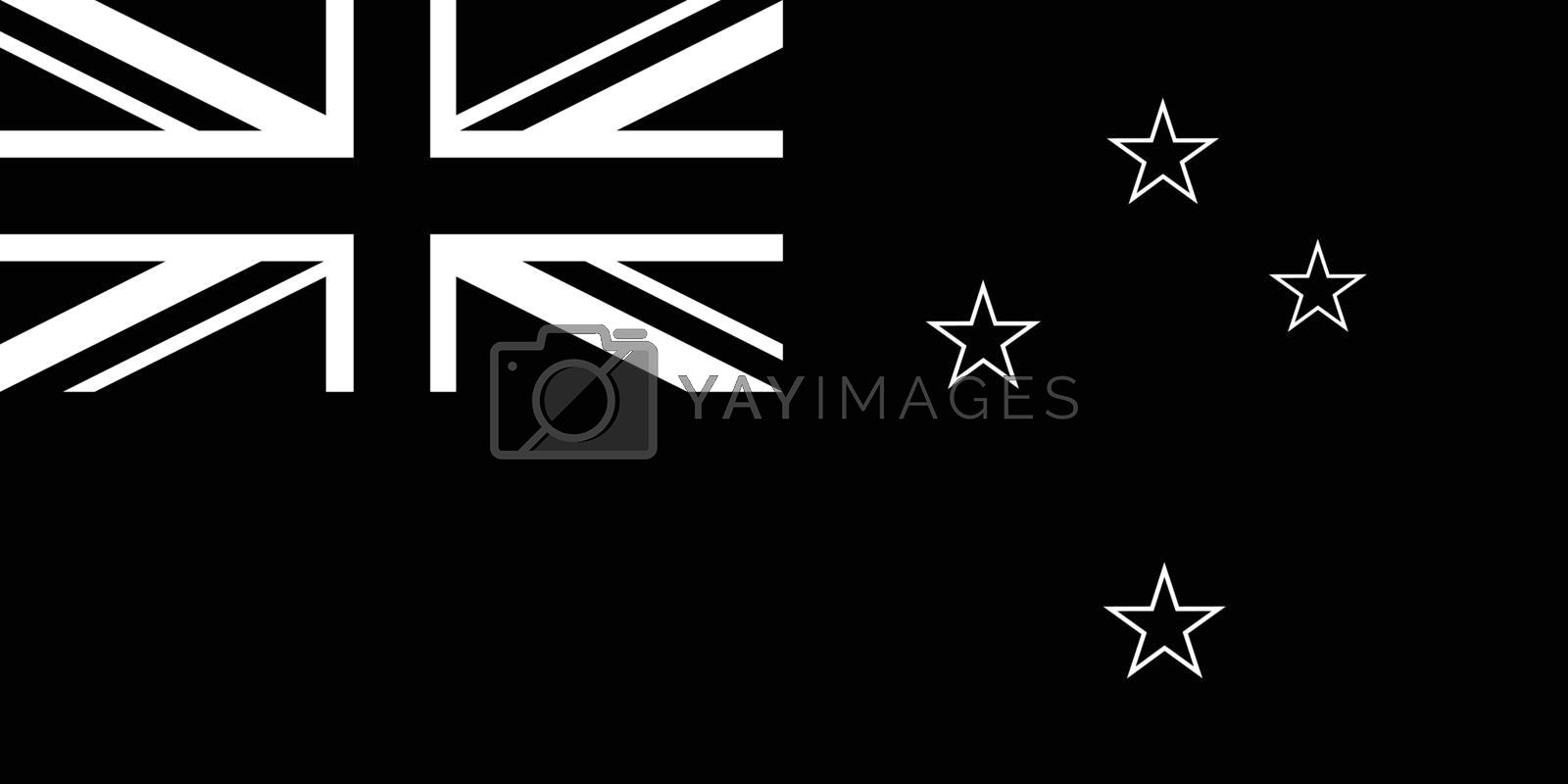 Black and white or monochrome flag of the state,  nation or country of New Zealand on isolated background.