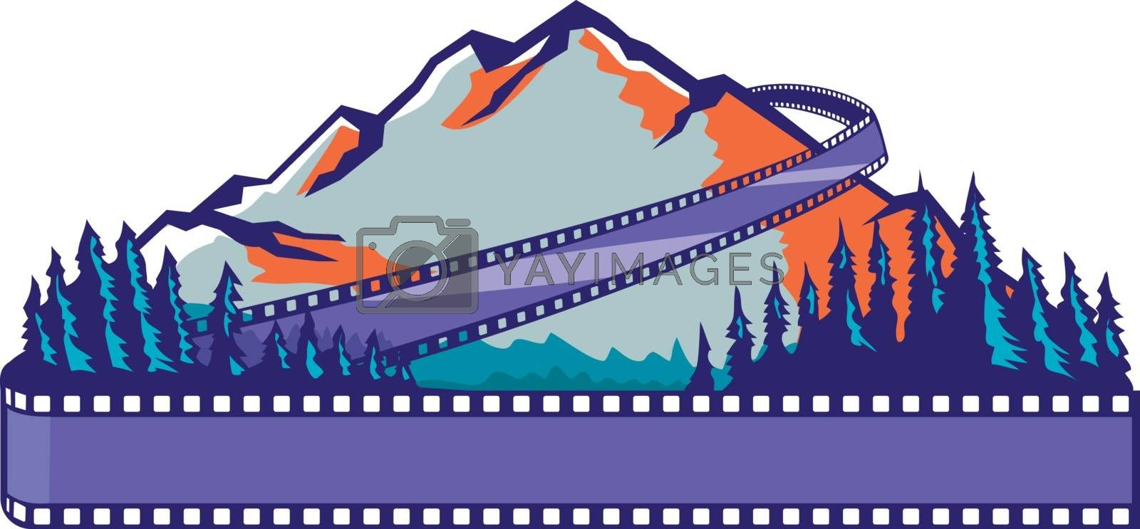 Retro WPA or Works Progress Administration art style illustration of a mountain and trees in foreground with flowing film strip or ,filmstrip reel coming from back to front on isolated background.