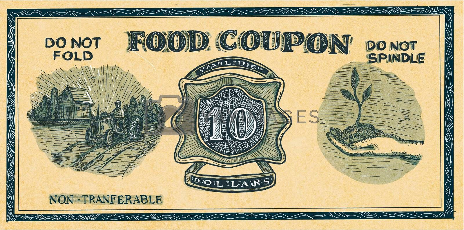 Drawing sketch style illustration of a vintage food stuff ration coupon on isolated white background than in retro style