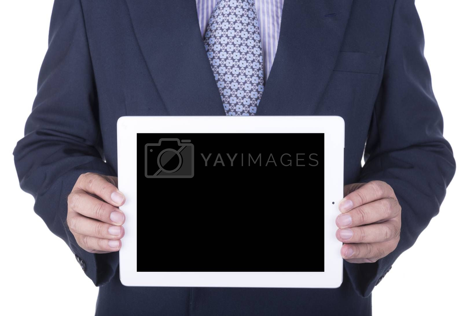 Businessman showing a laptop screen - isolated over a white background