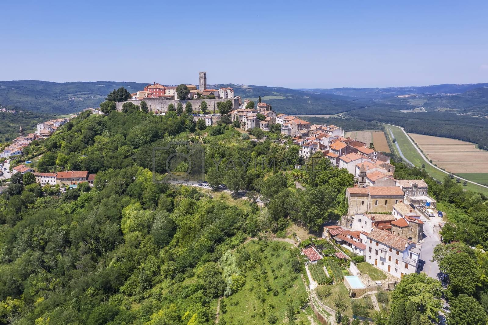 An aerial view of Motovun, settlement in central Istria, Croatia