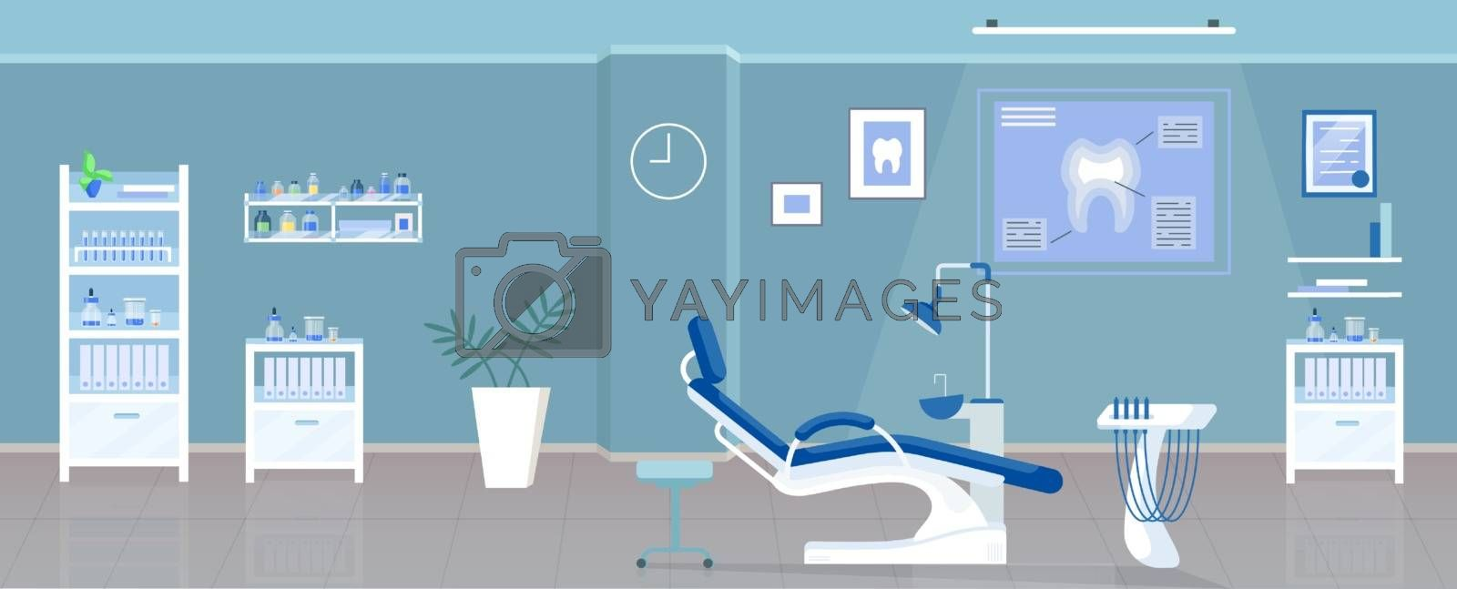 Dental office flat color vector illustration. Stomatological clinic, odontology room 2D cartoon interior design with orthodontic appliances on background. Stomatologist workplace with dental chair