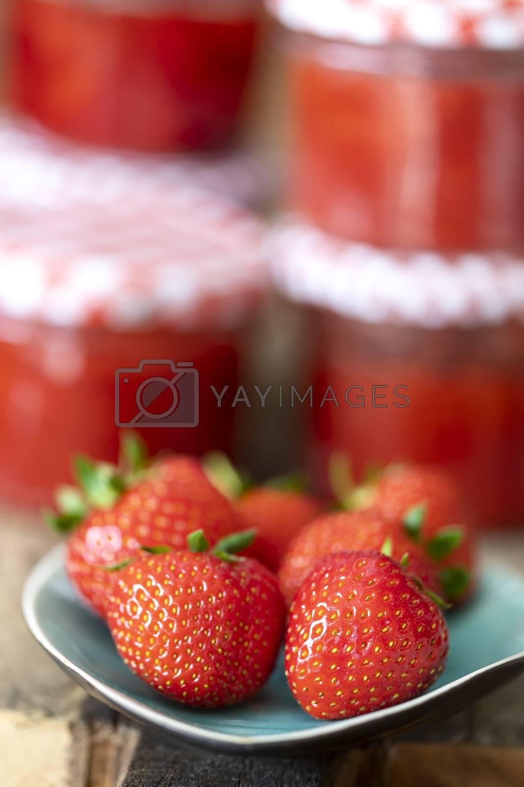 strawberry marmalade on wood