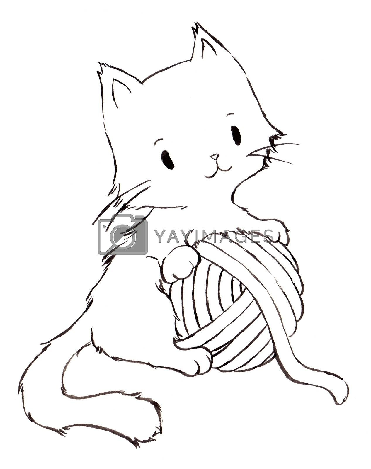 Fluffy kittens hugging yarn ball. Line art cartoon character black ink hand painting for decoration in pet artwork advertising, coloring book, textbook for small children.