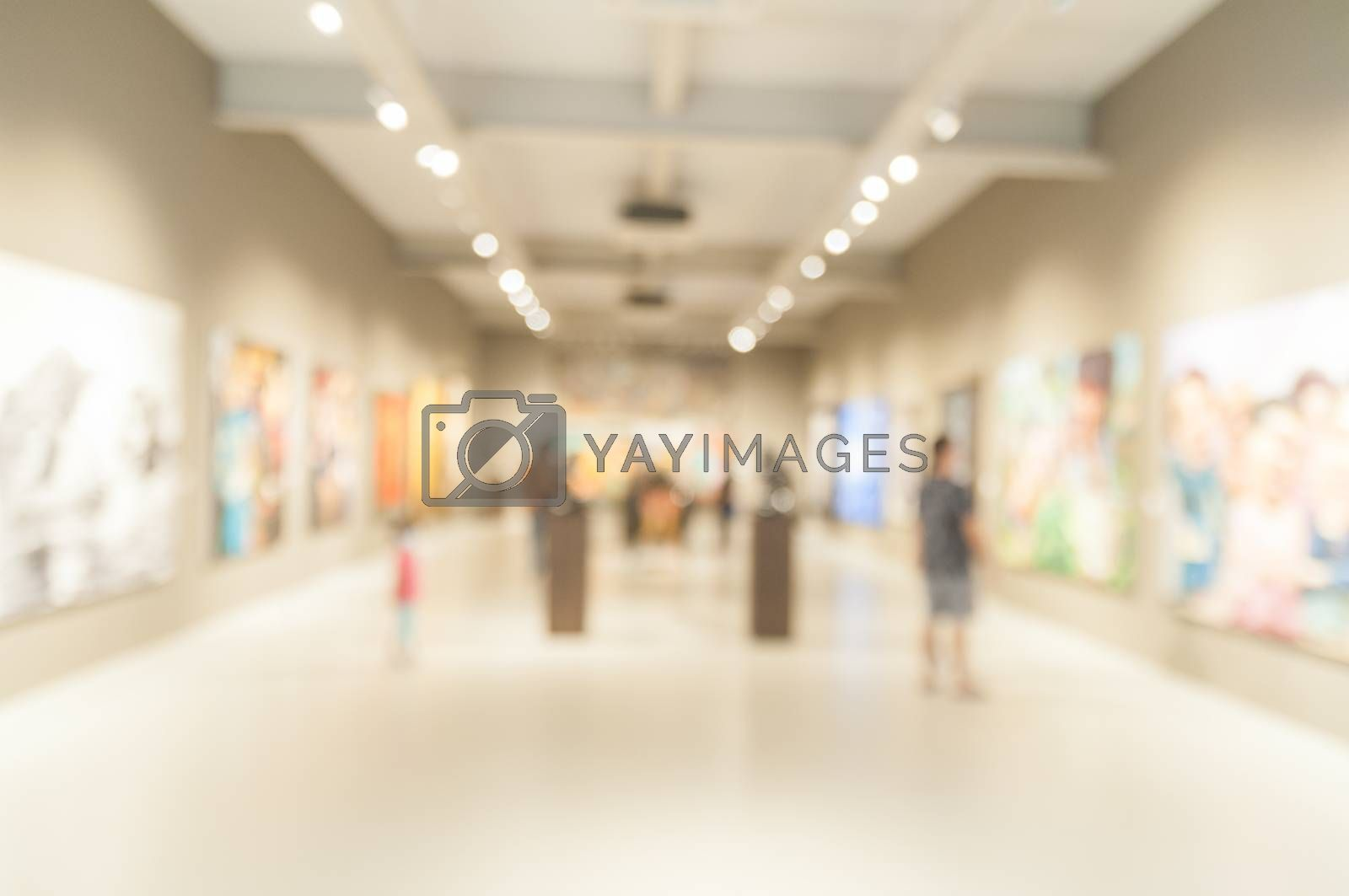Blur or Defocus abstract image of People in Public Modern museum