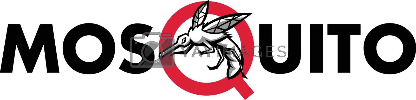 "Mascot icon illustration of an angry mosquito flying viewed from side set inside letter ""Q"" of the word or text ""mosquito"" on isolated background in retro style."