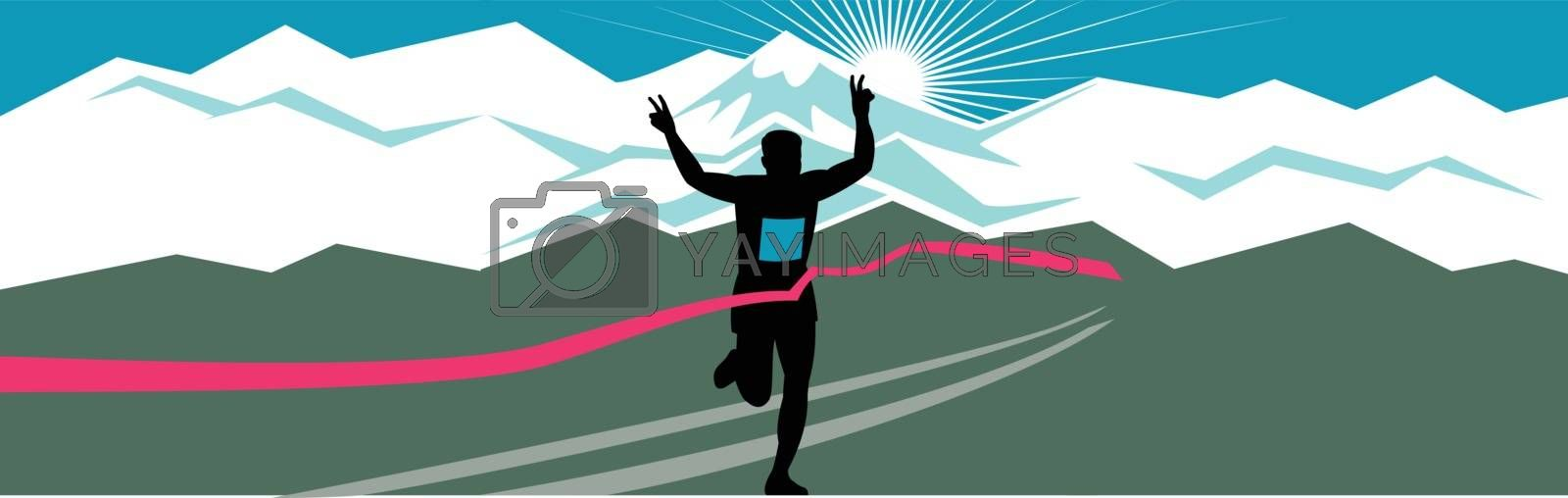 Retro style illustration of a silhouette of marathon runner flashing victory hand sign with snow capped mountains and sunburst and finish line ribbon tape in extra wide horizontal format.