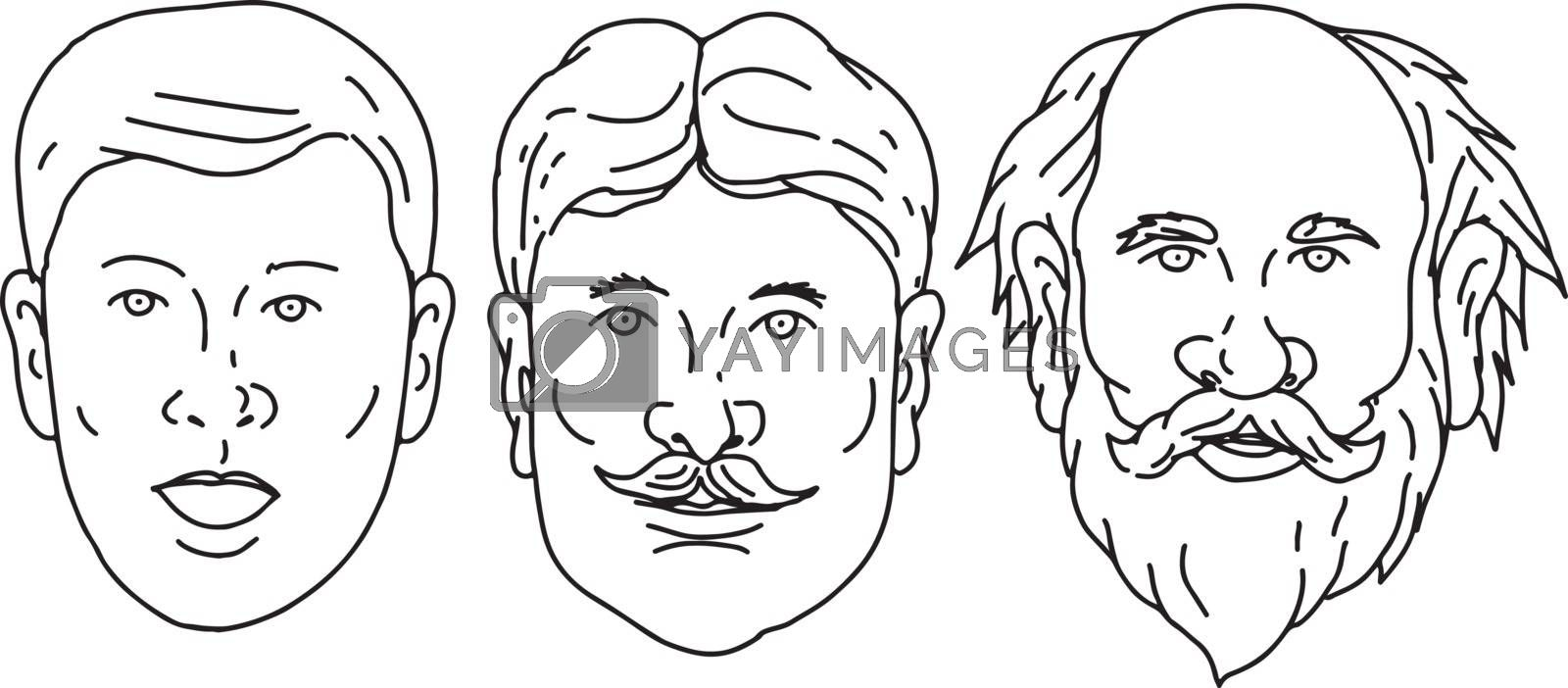 Drawing sketch style illustration of  head of a Caucasian male morphing from young to adult middle age to old senior on isolated white background.