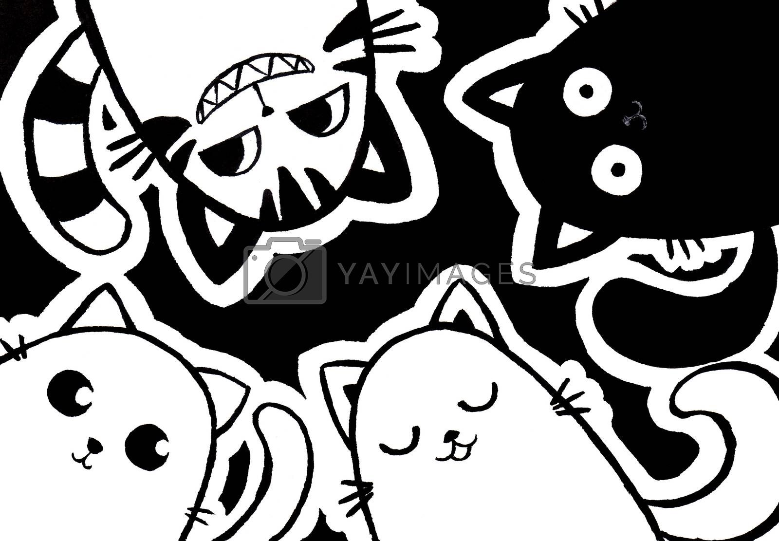 four cats cartoon character black ink hand painting for decoration in Halloween festival and pet artwork advertising.
