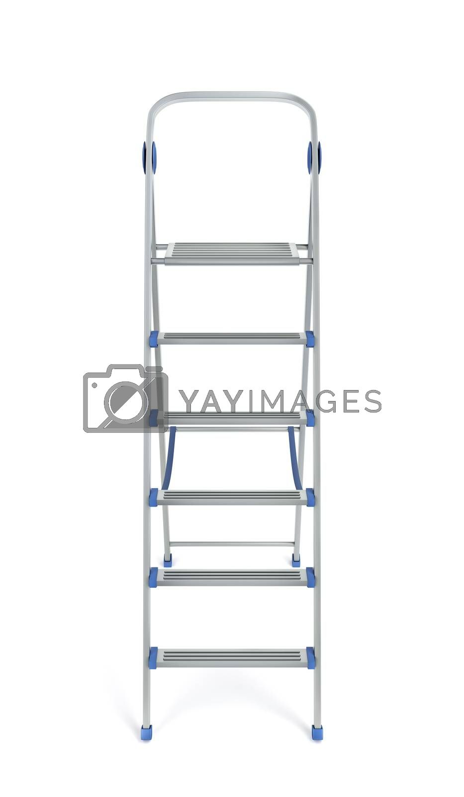 Aluminum step ladder on white background, front view