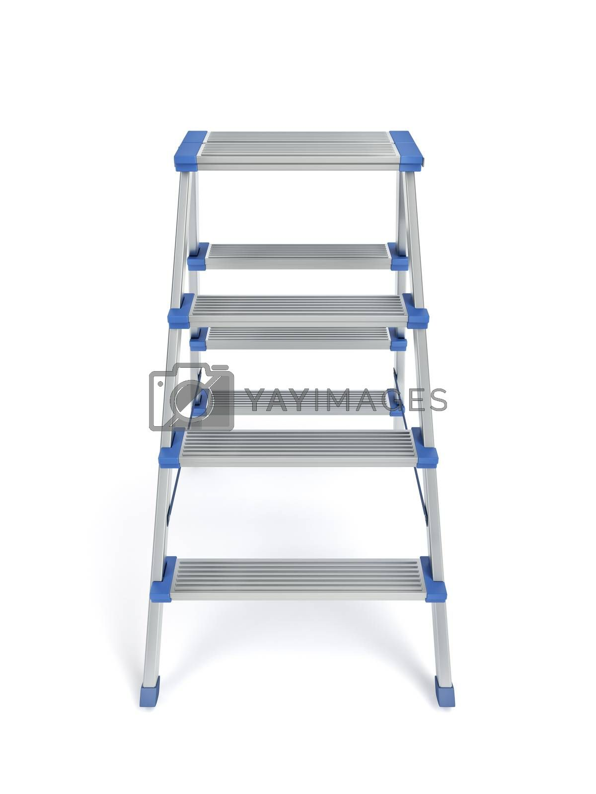 Small aluminum ladder on white background