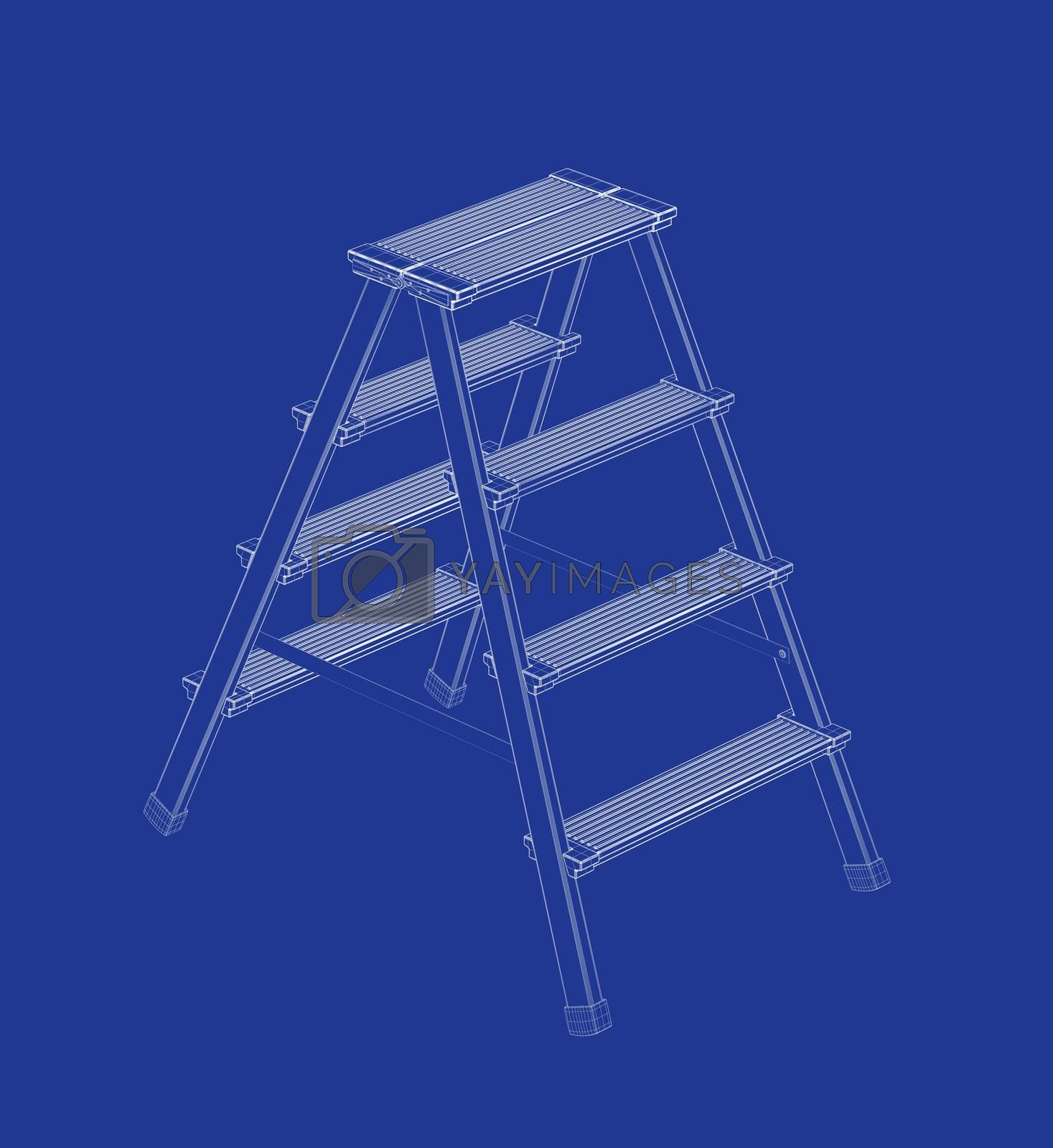 3d wire-frame model of ladder on blue background