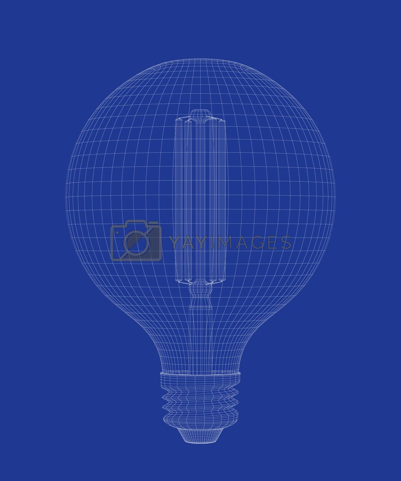 3d wire-frame model of led light bulb