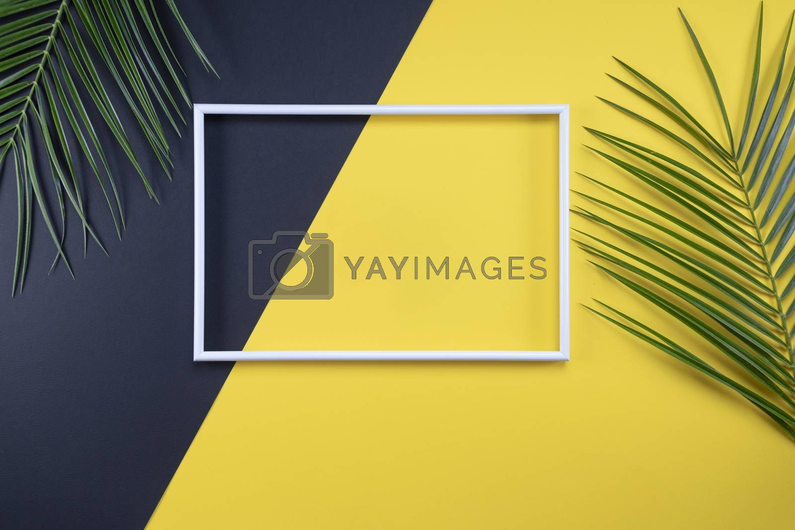 Summer composition with photo frame and green leaves on yellow background. Creative mockup with copy space and tropical leaves.
