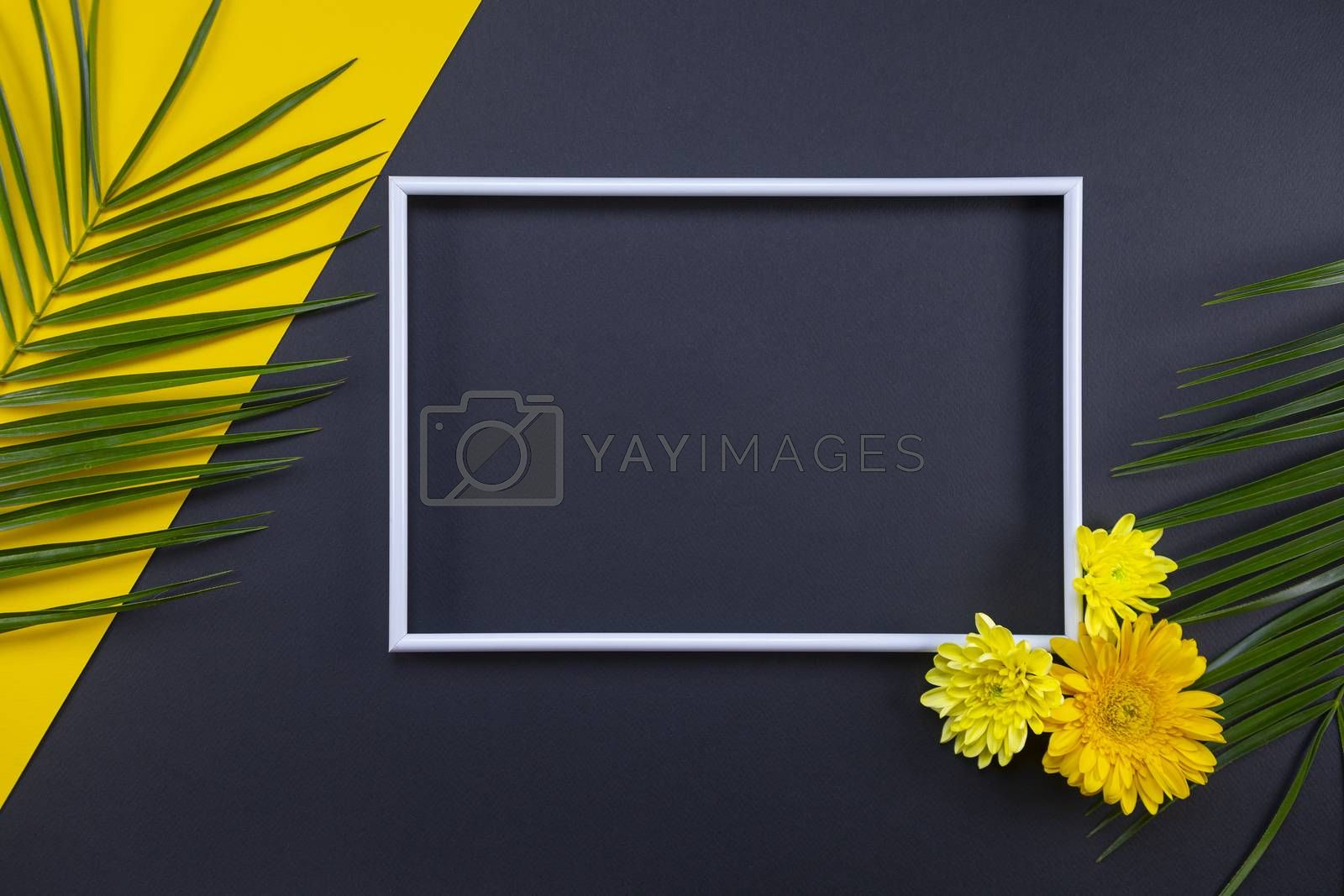 Frame of tropical palm leaves and flowers on black and yellow background. Flat lay, top view, copy space. Summer background, nature. Creative frame background with tropical leaves.