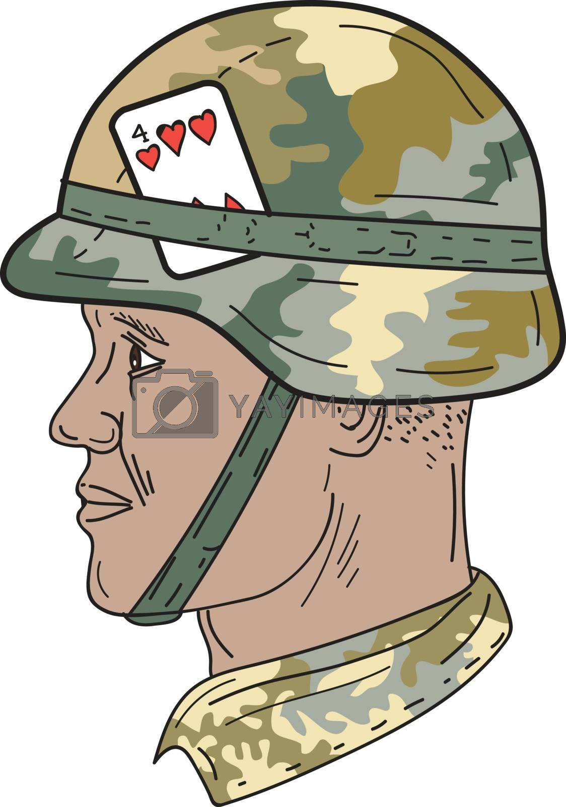 Drawing sketch style illustration of an African American soldier wearing Us Army Kevlar combat helmet with camouflage cloth cover and four of hearts playing card attached to side viewed from the side set on isolated white background.