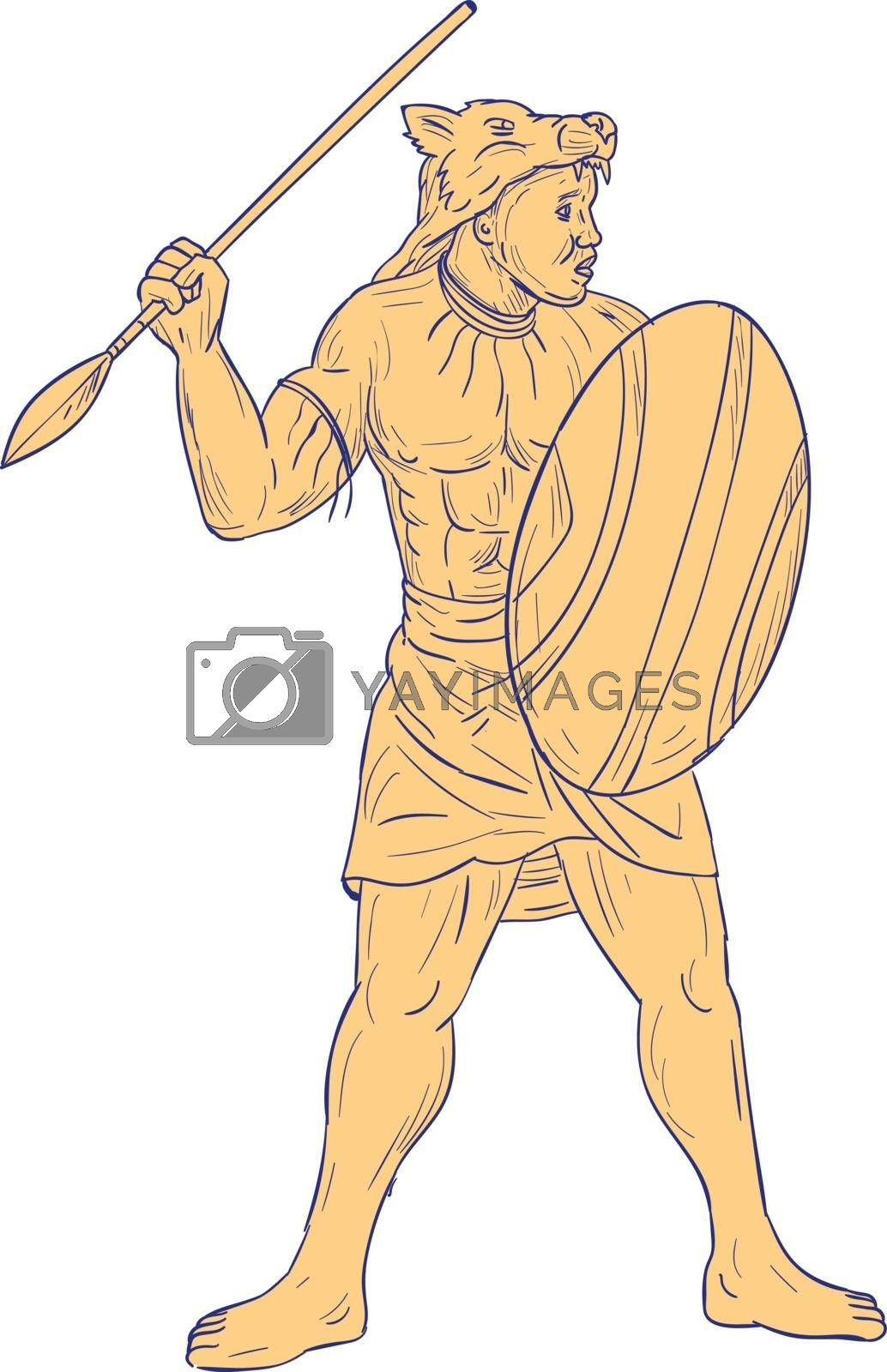 Drawing sketch style illustration of an african warrior with wolf mask on head holding spear and shield looking to the side set on isolated white background.