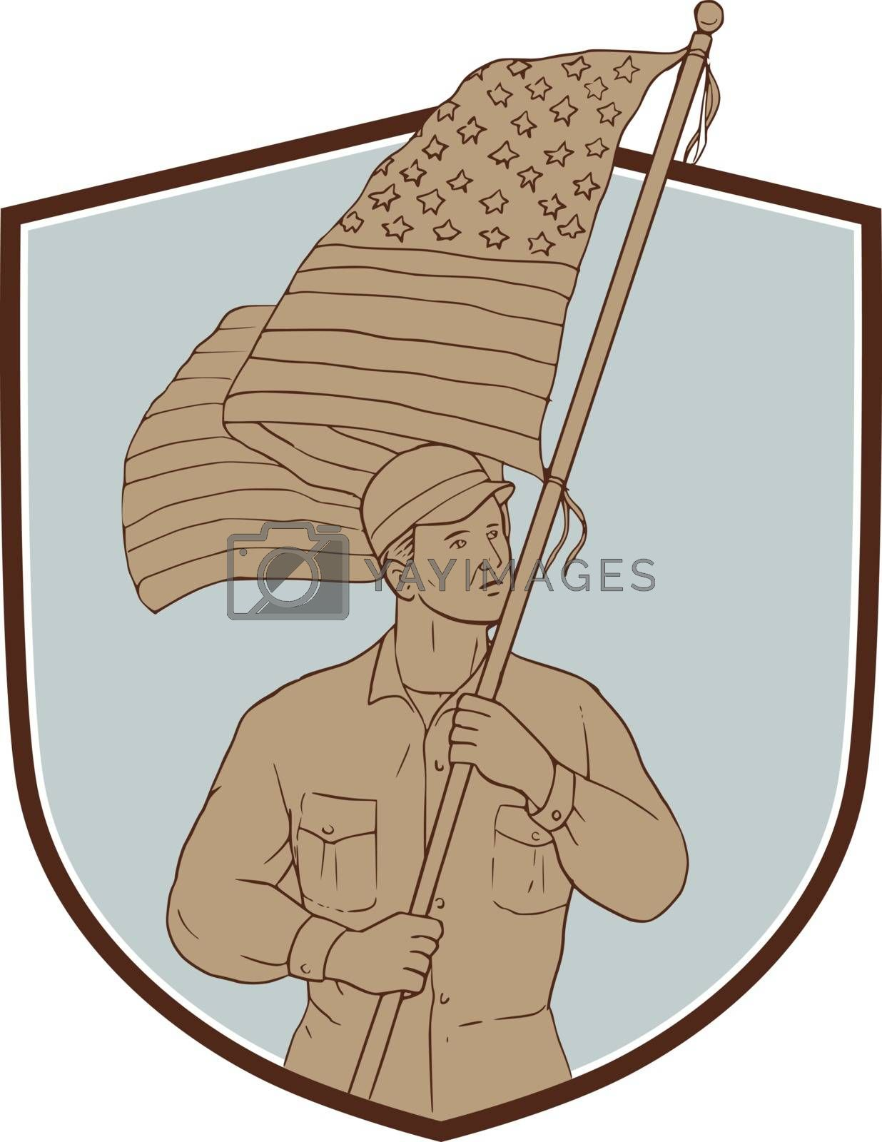 Drawing sketch style illustration of an american soldier serviceman waving holding usa flag looking to the side set inside shield crest on isolated background.