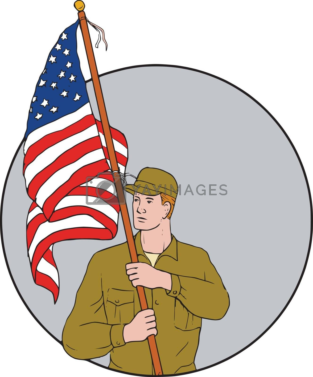 American Soldier Holding USA Flag Circle Drawing by patrimonio
