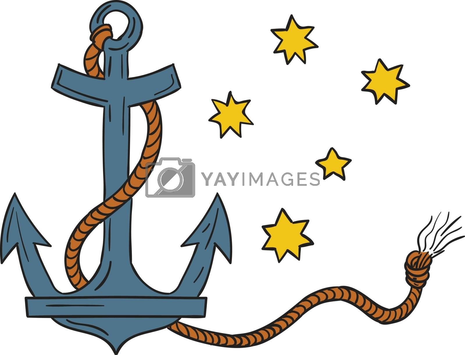 Drawing style illustration of an anchor, a device, made of metal, used to connect a vessel to sea bed to prevent the craft from drifting, with coiled rope and southern cross  star constellation in background.