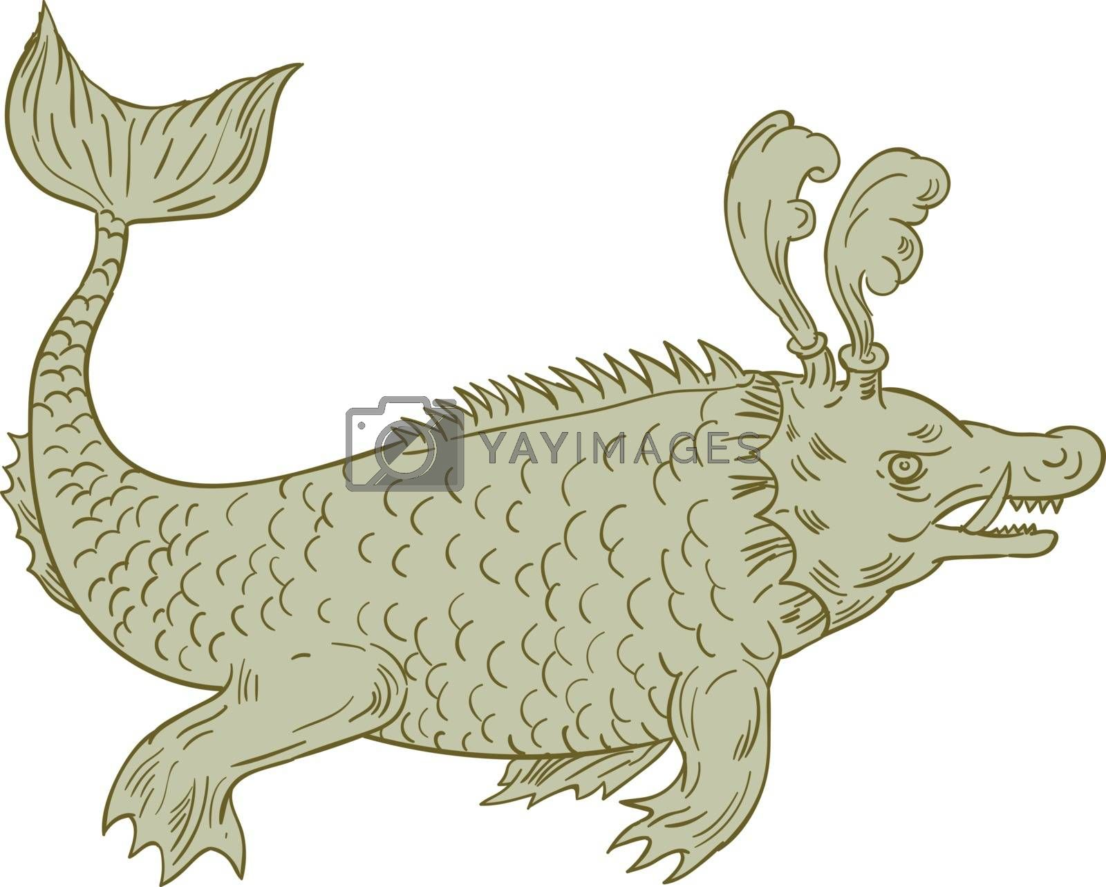 Drawing sketch style illustration of an ancient sea monsters, marine beings from folklore believed to dwell in the sea and often imagined to be of immense size set on isolated white background viewed from the side