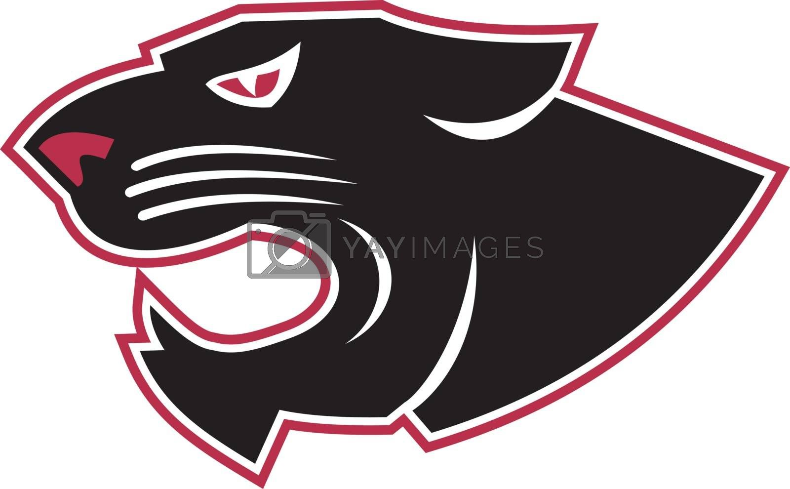 Icon style illustration of an angry aggressive panther head viewed from side on isolated background.