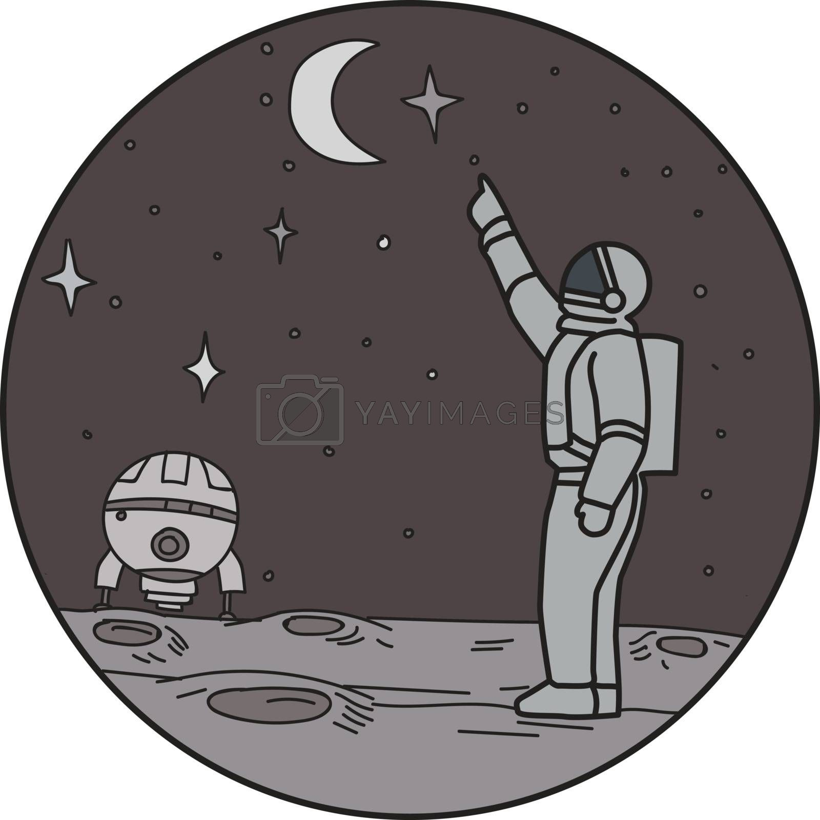 Mono line style illustration of an astronaut in outer space pointing up to the stars and moon with shuttle in the background set inside circle.