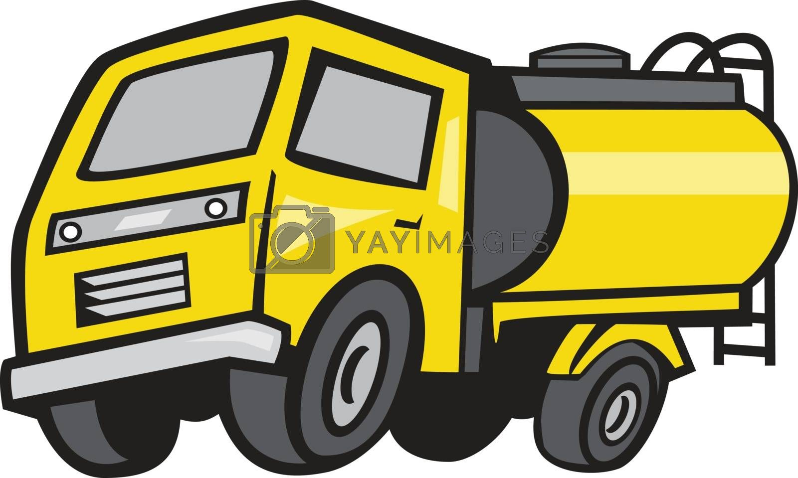 Illustration of a baby tanker or 4 wheel midi fuel tanker viewed from front set on isolated white background done in cartoon style.