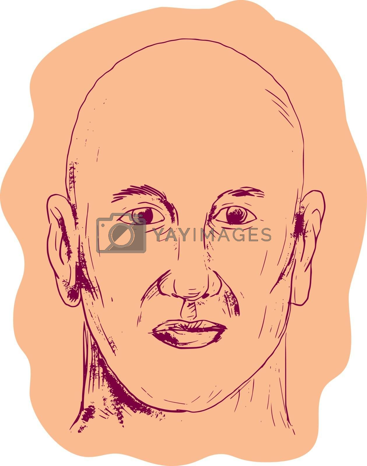 Drawing sketch style illustration of head of a bald caucasian male viewed from front set on isolated white background.