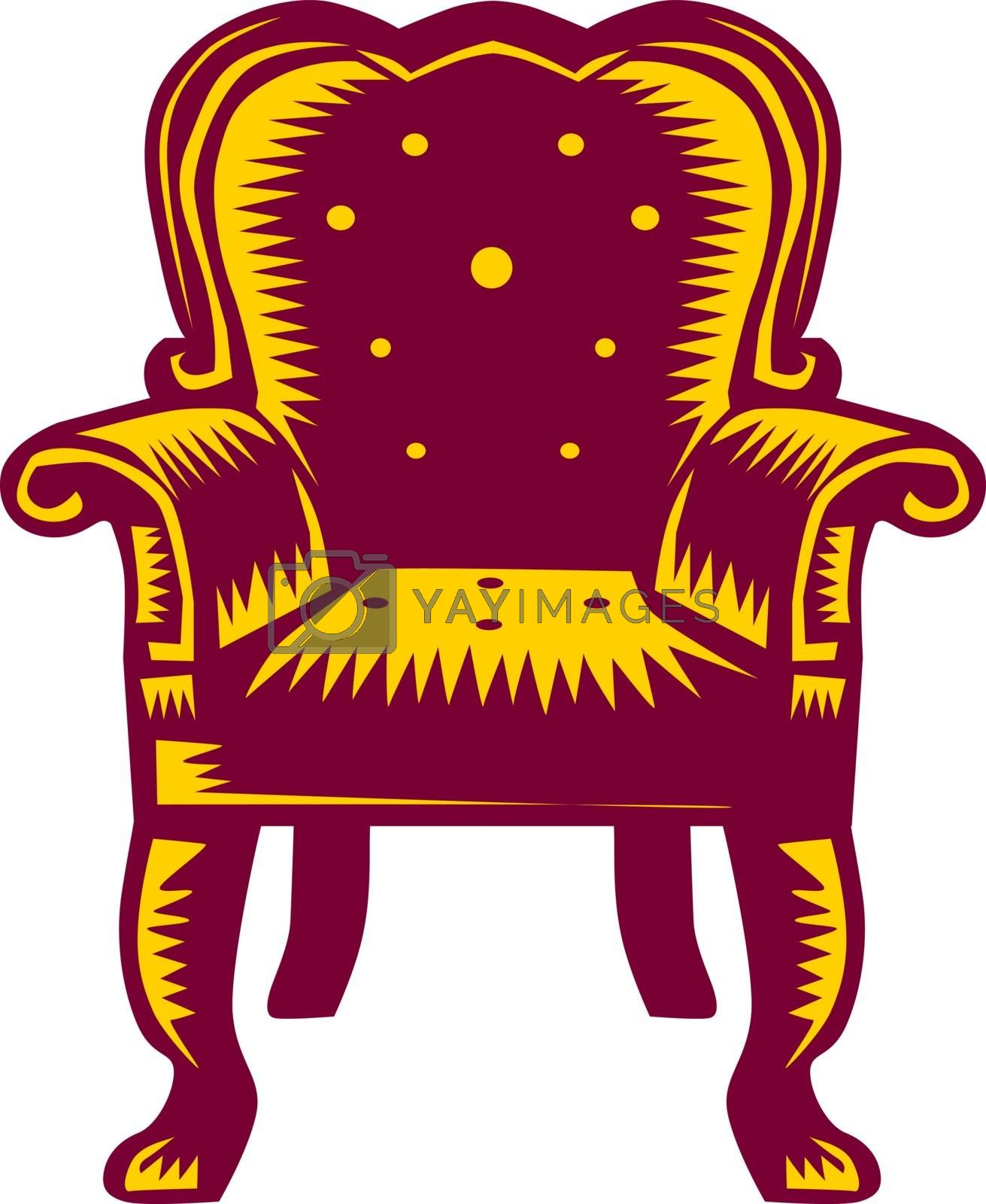 Illustration of a baroque grand arm chair set on isolated white background done in retro woodcut style.