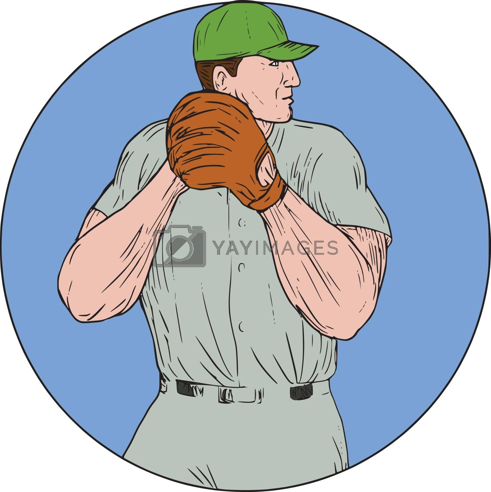 Drawing sketch style illustration of an american baseball player pitcher outfilelder getting started to throw ball viewed from the side set inside circle on isolated background.