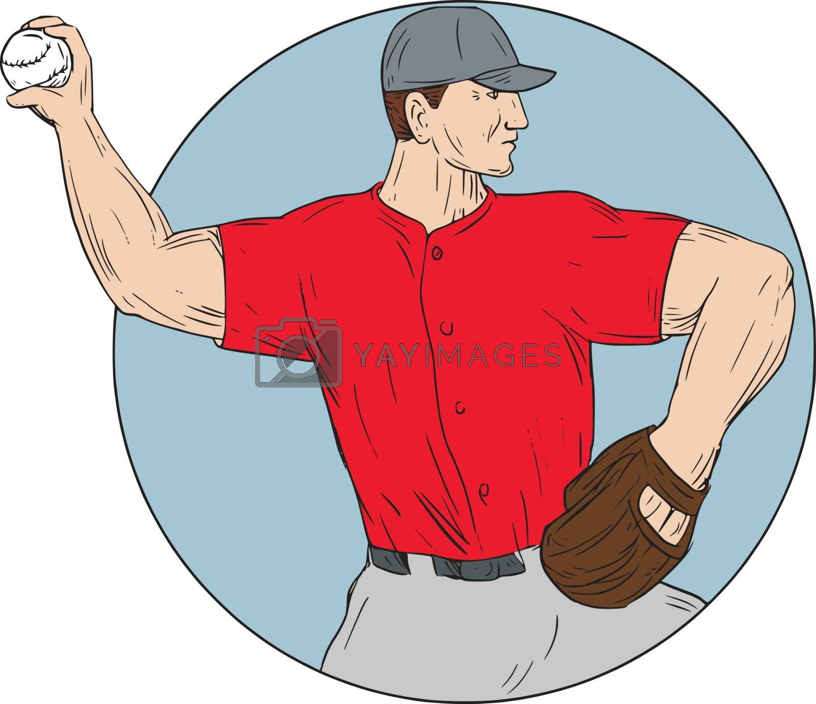 Drawing sketch style illustration of an american baseball player pitcher outfilelder throwing ball viewed from the side set inside circle on isolated background.