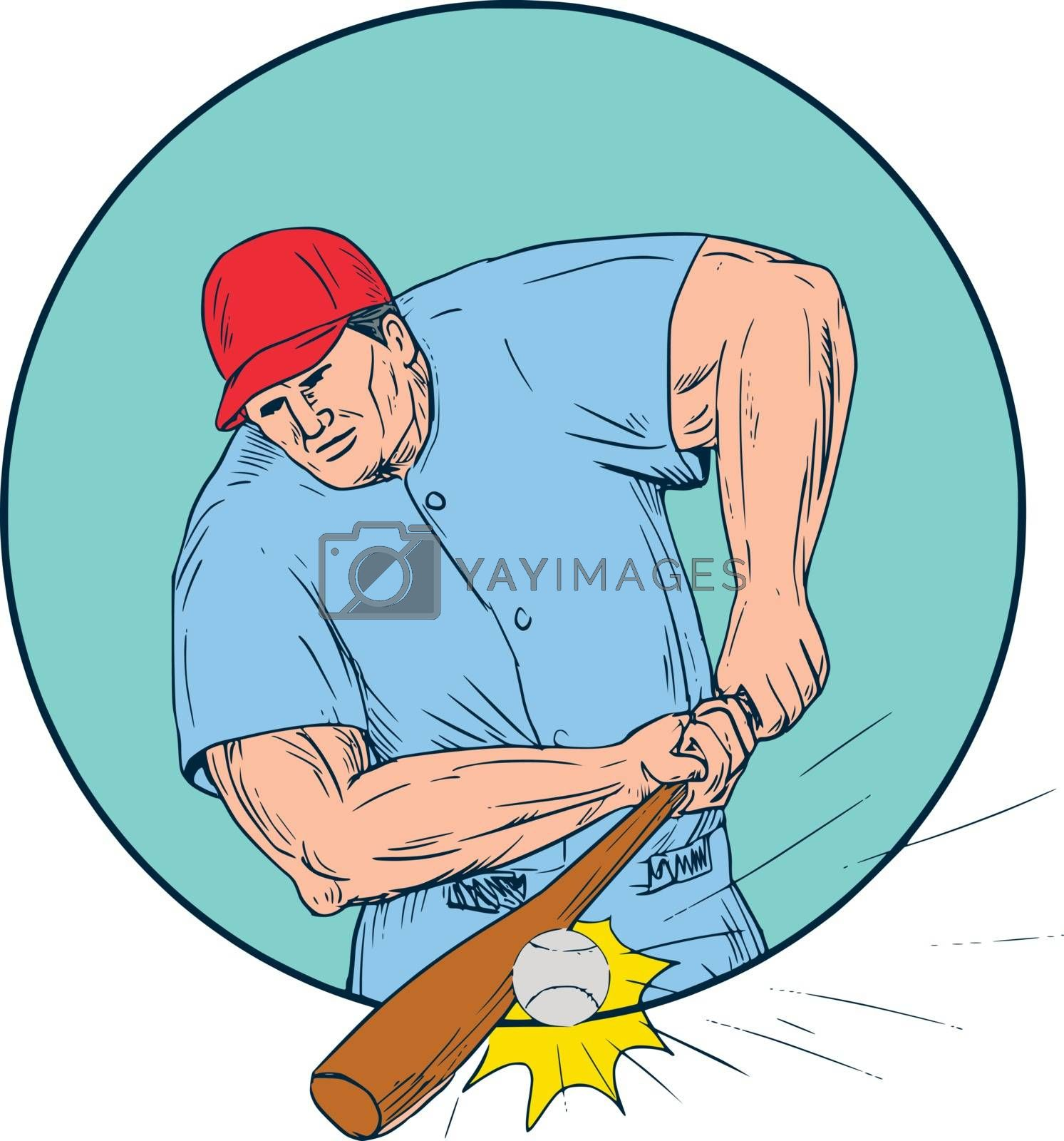 Drawing sketch style illustration of an american baseball player batter hitter hitting a homerun viewed from front set inside circle.