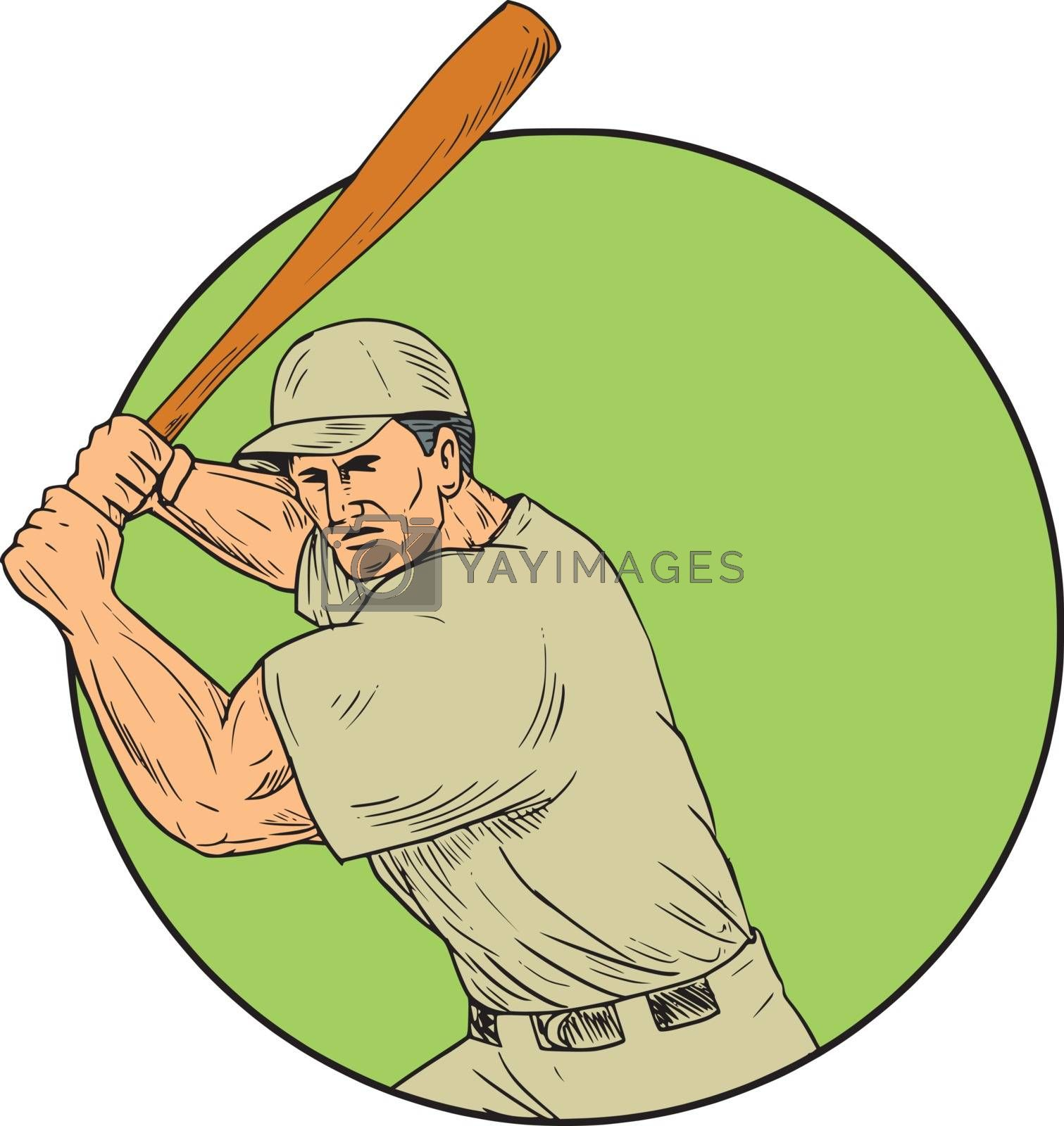 Drawing sketch style illustration of an american baseball player batter hitter holding bat in batting stance viewed from front set inside circle.