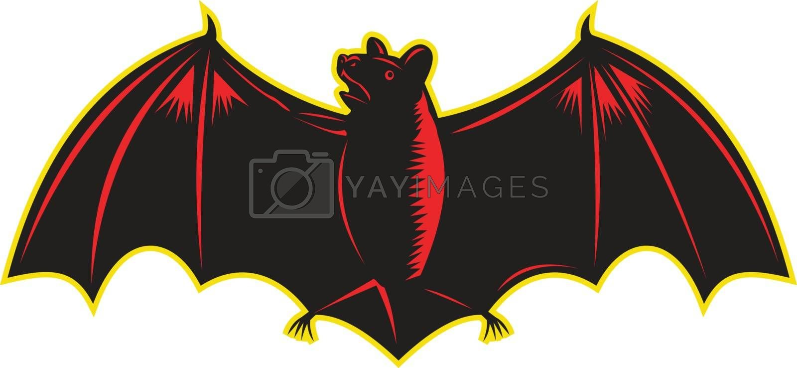 Illustration of bat looking up to the side with wings spread out viewed from front set on isolated white background.